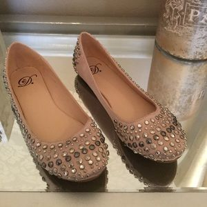 Shoes - Champagne rose studded flats, never worn